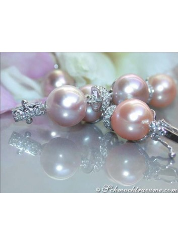 Elegant Multicolor Pearl Bracelet with Diamonds
