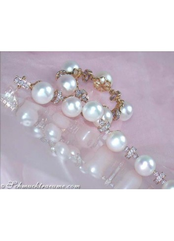 Pretty Freshwater Pearl Bracelet in Yellow gold 14k