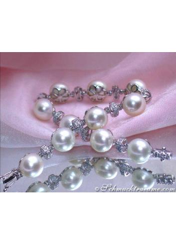 Süßwasser Perlen Armband mit Diamanten