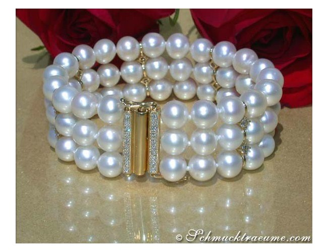 Gorgeous Three Row Freshwater Pearl Bracelet with Diamonds in Yellow Gold