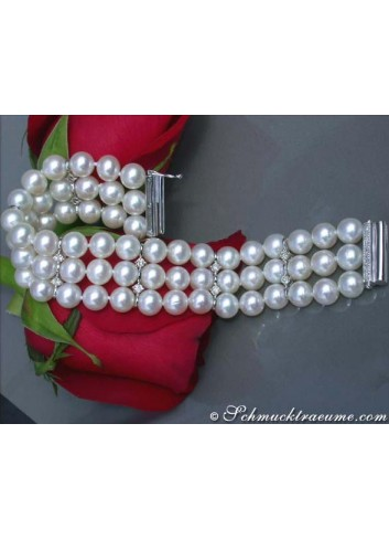 Gorgeous Three Row Freshwater Pearl Bracelet with Diamonds in White Gold