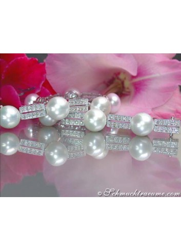 Pretty Cultured Pearl Bracelet with Diamonds