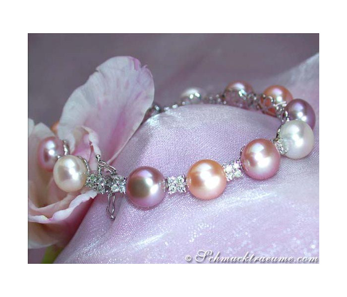 Finest Multicolor pearl diamonds bracelet