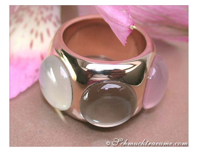 Huge Rose Quartz, Smoky Quartz & Moonstone Ring