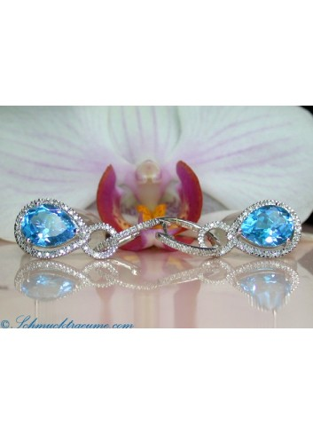 Convertible Blue Topaz Earrings / Diamond Hoops