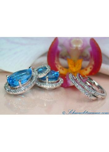 Convertible Blue Topaz Earrings / Diamond Hoops