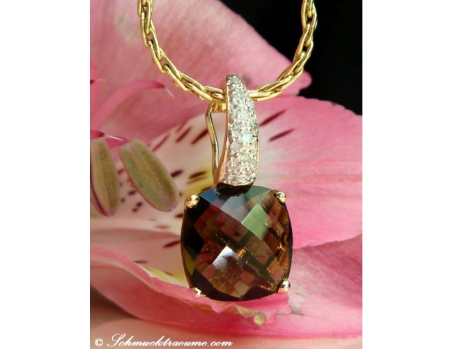 Pretty Smoky Quartz Diamond Pendant