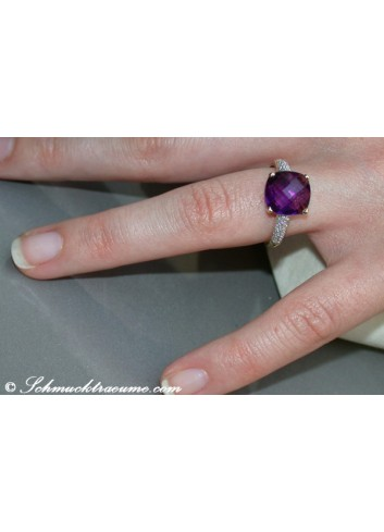 Pretty Amethyst Diamond Ring