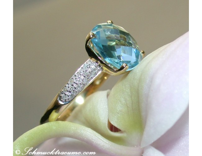 Cute Blue Topaz Diamond Ring