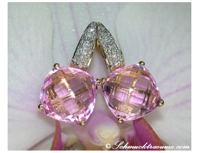 Pretty Pink Topaz Earrings with Diamonds
