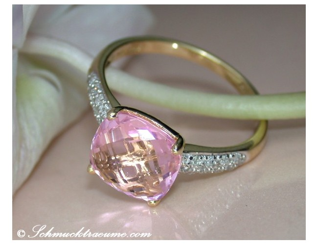 Pretty Pink Topaz Diamond Ring