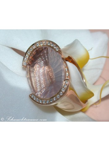 Rosenquarz Ring mit Diamanten