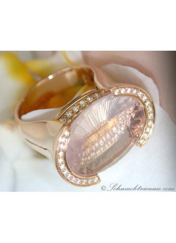 Rosenquarz Ring mit Diamanten