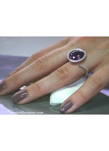Interesting Amethyst Diamond Ring