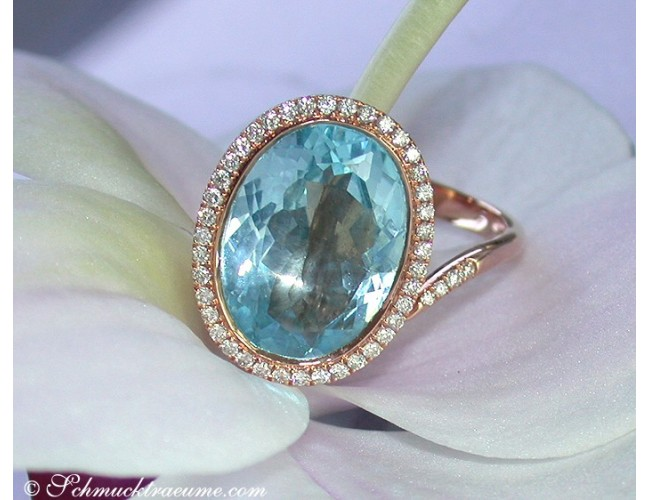 Terrific Blue Topaz Diamond Ring