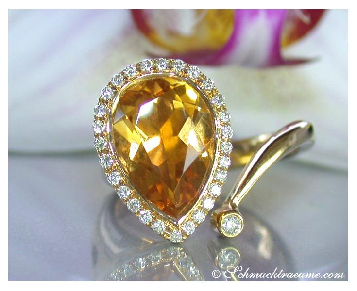 Citrin Ring mit Brillanten in Gelbgold 750