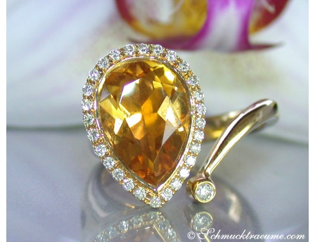 Pretty Citrine Drop Diamond Ring