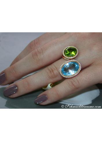 Edelstein Ringe Blautopas Peridot