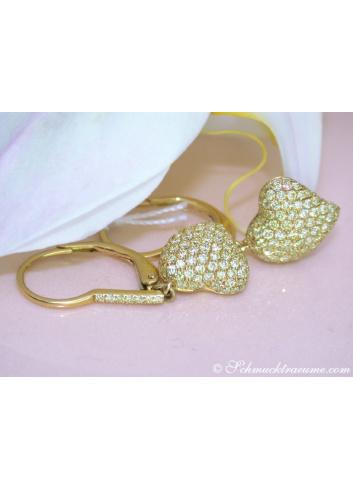 Classy Diamonds Heart Earrings in Yellow gold 18k