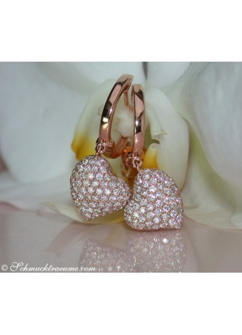 Classic Diamond Heart Earrings in Rose gold 18k