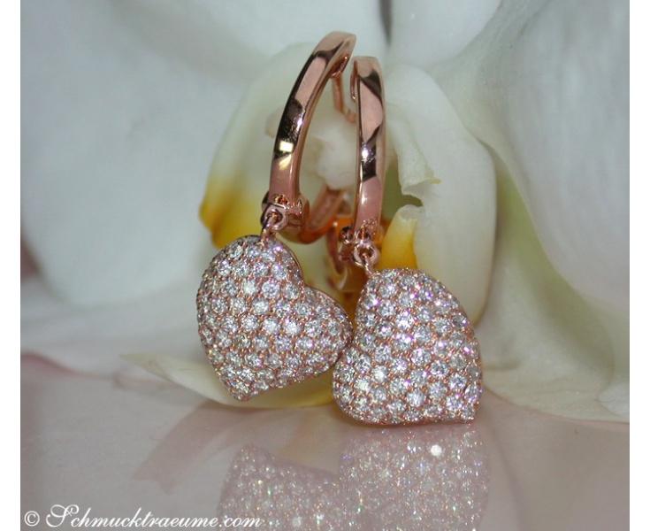 Diamanten Herz Ohrringe in Roségold 750