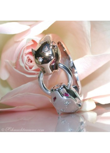 Attractive Diamond Panther Ring