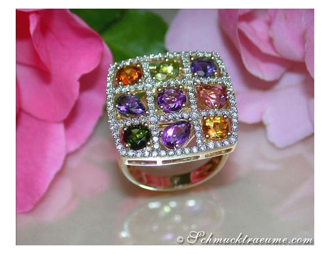 Gorgeous Multicolor Gemstone Ring with Diamonds