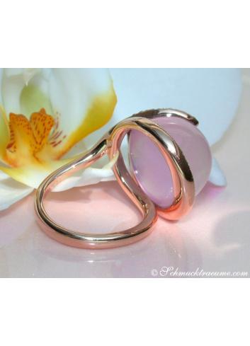 Rosenquarz Brillanten Ring