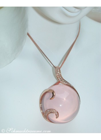 Magnificent Rose Quartz Pendant with Diamonds