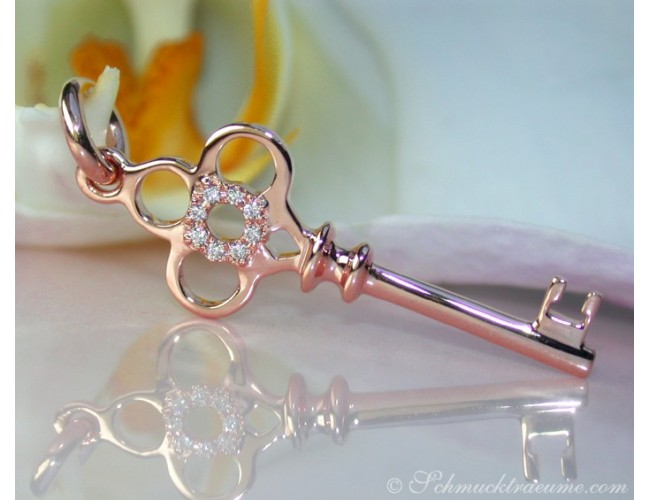 Enchanting Diamond Key Pendant