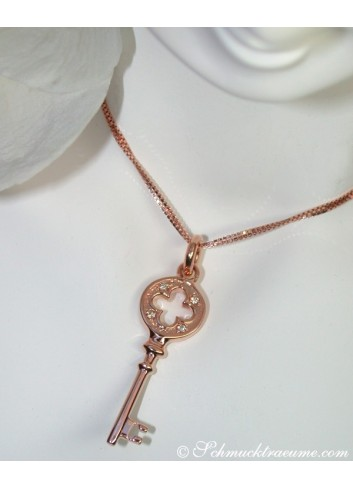 Pretty Diamond Key Pendant