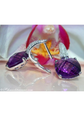 Pretty Amethyst Earrings with Diamonds in White gold
