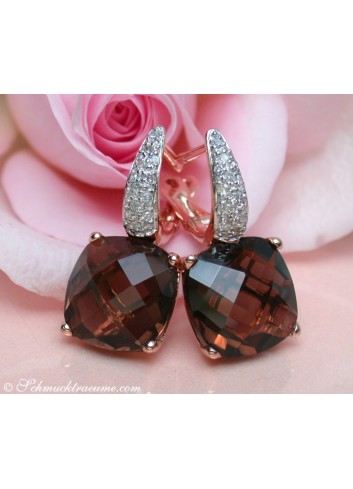 Pretty Smoky Quartz Studs with Diamonds