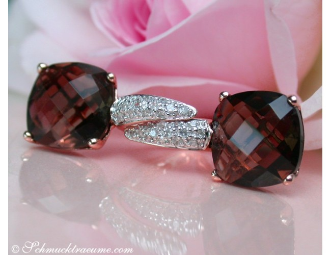Pretty Smoky Quartz Earrings with Diamonds in Rose gold