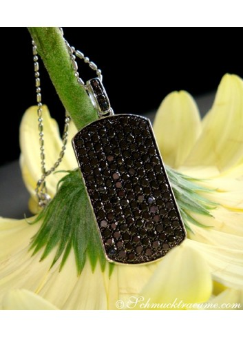 Striking Black Diamond Dog Tag Pendant