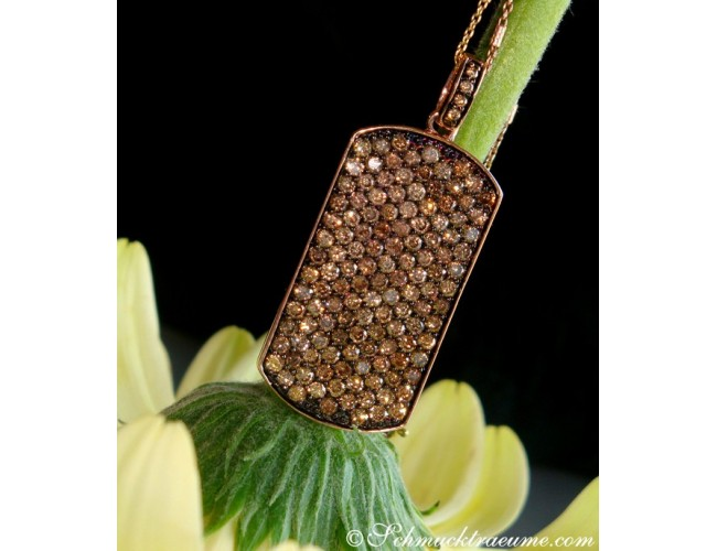 Brown Diamond Dog Tag Pendant