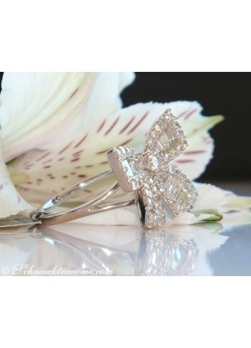 Feminine Diamond Bow Ring