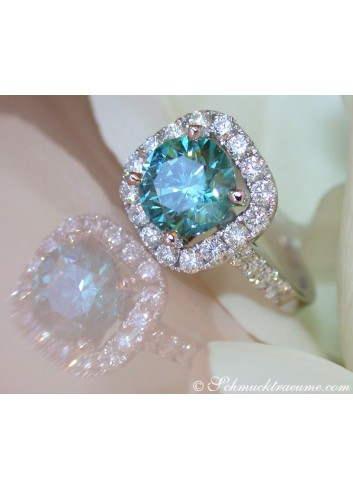 Blauer Diamant Solitär Ring
