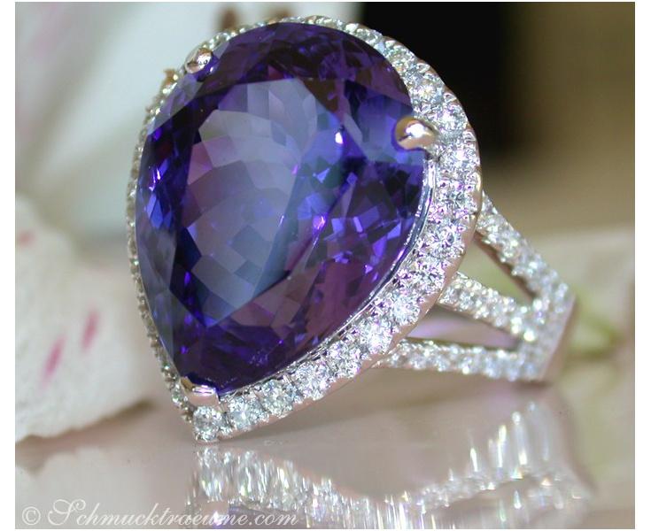Exquisite AAA Tanzanite Ring with Diamonds