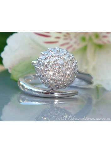 Attractive Pave Ball Diamond Ring