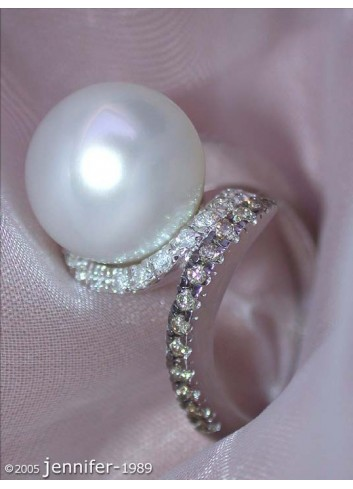 Elegant Southsea Pearl Ring with Brown & White Diamonds