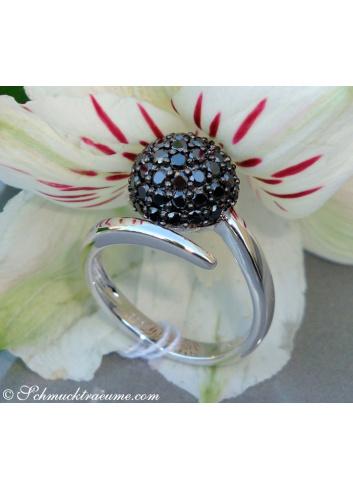 Schwarze Diamanten Kugel Ring