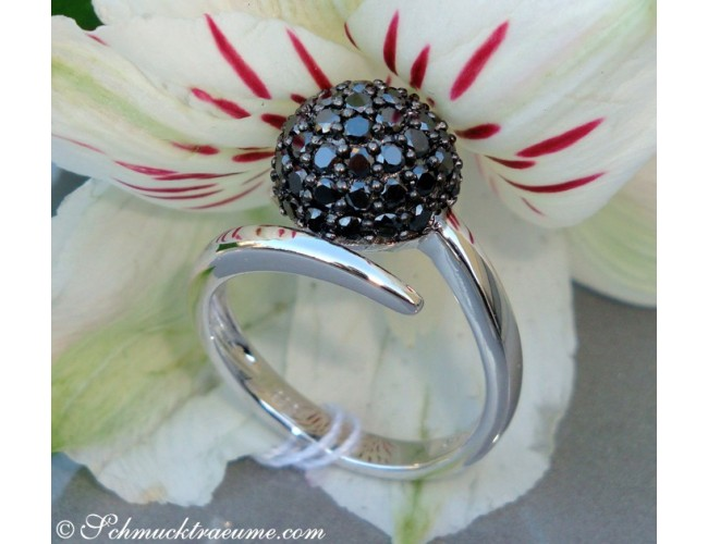 Attractive black diamond pave ball ring
