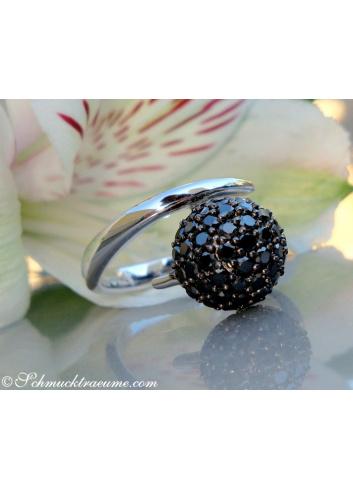 Attractive black diamond pave ball ring