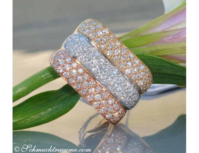 Three diamonds rings in one (three tone finish)