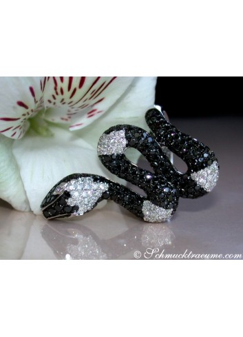 Snake Ring with Black & White Diamonds