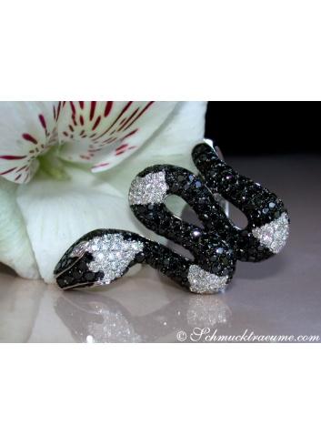 Schlangen Ring mit schwarzen Diamanten & Brillanten