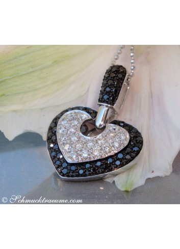 Interesting Black & White Diamond Heart Pendant