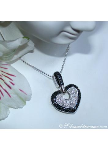 Interesting Black & White Diamond Heart Pendant