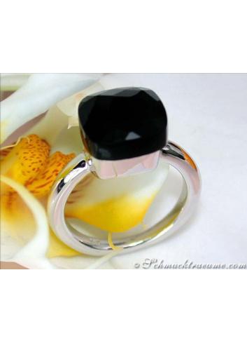 Onyx Ring in Weißgold 750